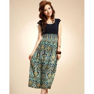 Charji Shop Blue Floral Printed Dress For Women