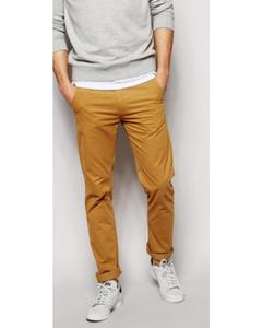 Brown Cotton Chino Slim Fit For Men