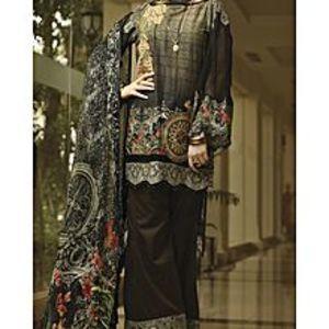 AlmirahBlack Lawn 3pcs Unstitched Suit For Women