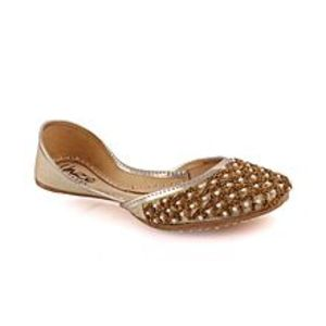 Unze LondonBlack Women?s ?Ametrine? Embellished Indian Khussa Slippers L29725