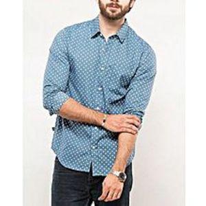 DenizenBlue Polka Printed Cotton Sage Heather L/S Woven Shirt Special Online Price