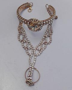 Gold Plated Flower Zircon Studded Bracelet Cum Ring