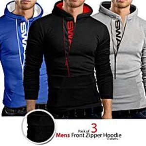 ZewraatPack Of 3 Mens Front Zipper hoodie   T-shirts