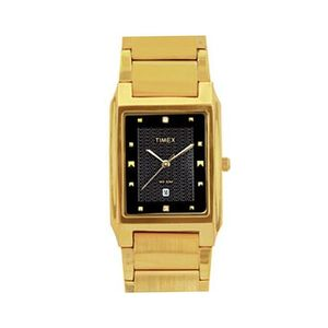 Black & Gold Stainless Steel Analog Watch For Men