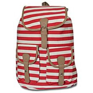 Bags Collection Red & White Stripes Leather Backpack For Women