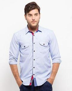 Sky Blue Cotton Shirt with Red Ribben for Men