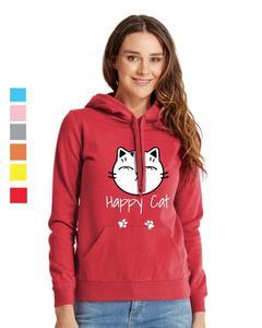 Rex Bazar - Red Happy Cat Printed Hoodie For Women