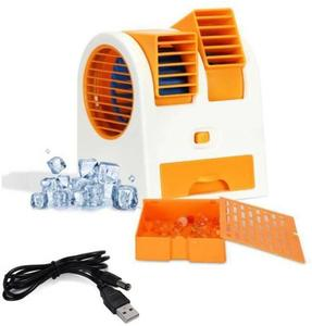 Mini USB AC Fragrance Air Cooling FAN Portable Desktop Dual Bladeless Air Cooler- Multicolour