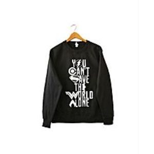 Brand X T-Shirts Black Fleece Sweatshirt For Women