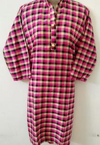 Fresh Winter Acrylic Wool Check Print Girl's Stitched Kurta top Pink and Black