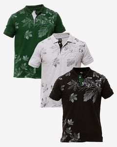 AR Center Pack of 3 - Multicolor Cotton Polo Shirts for Men - ARA-3Polo-Leaf