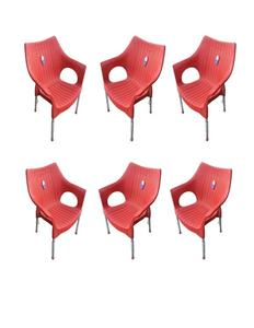 (Boss) Set Of 6 Rattan Plastic Chairs - Red