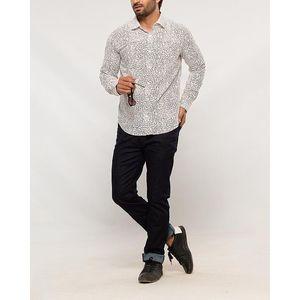 Denizen Black Cotton Woven Printed Shirt for Men