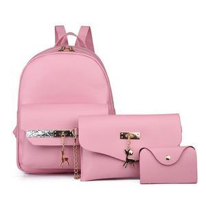 Fashion Woemn Leather Small Deer Backpack School Bag+Messenger Bag+Card package