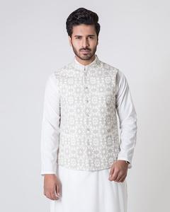Bonanza Satrangi - Cream Khaddar Men's Waist Coat-50774 - 50774-XL