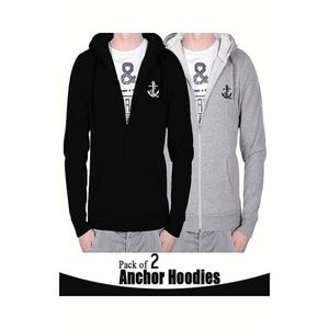 Pack Of 2 - Multicolor Fleece Anchor Printed Hoodies For Men