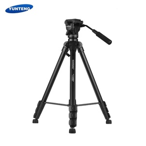 YUNTENG VCT-999RM Professional Aluminum Alloy Video Tripod 4-Section Adjustable with Fluid Pan & Tilt Head for Canon Nikon Sony DSLR ILDC Camera Camcorder DV Max. Height 206cm Max. Load 5kg