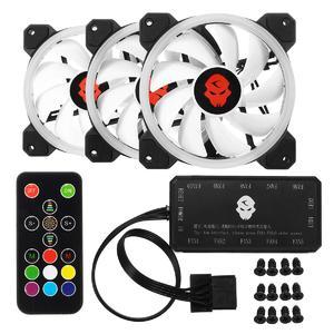 Intelligence  3Pcs 1800RPM RGB LED Quiet Computer Case PC Cooling Fan 120mm +Remote Controller
