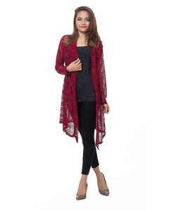 Maroon Net Shrugs For Women