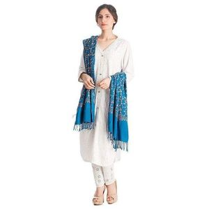 Blue embroidered Shawl For Women