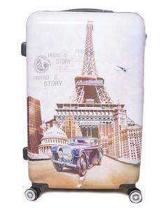 Eiffel Tower Printed Trolley BagOff White Poly Carbonate