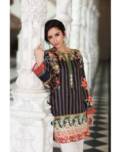 So Kamal Winter Collection  Black Cotton Satin Printed 1PC -Unstitched Shirt DPF18 492 EF01161-STD-BLK
