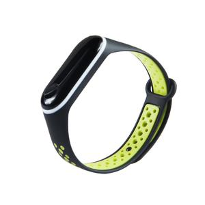 Dual Color Waterproof Silicone Replacement Wrist Strap Watch Band for Xiaomi Mi Band 3 Smart Bracelet Miband 3 Mi 3  Black Yellow