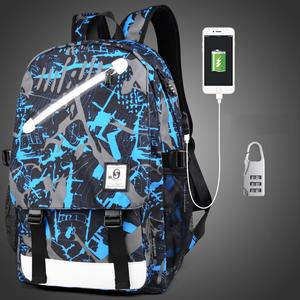 Multi-Function Large Capacity Oxford Cloth Blue and Grey Graffiti Backpack Casual Laptop Computer Bag with External USB Charging Interface & Security Lock for Men / Women / Student, Size: 46*30*14cm