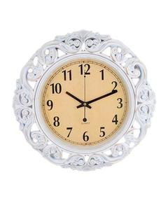 Pvc High Quality Silent Non Ticking Home Office School Quartz Wall Clock - White Antique Flower - 17X17""