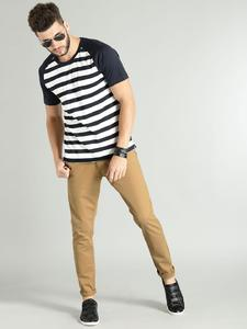 Dark Camel Slim Fit Solid Jeans for men