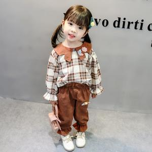6 months to 5 years High quality kitty style Brown check Shirt with brown stylish warm trouser for your baby girls new winter collection 2019