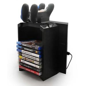 3-in-1 PS4/ PS4 Slim/ PS4 Pro Game Storage Holder, Game Storage Tower Holder Stand Dual Dock Controller Charging Station Detachable Gaming Storage Tower Stand 12 Disc Rack