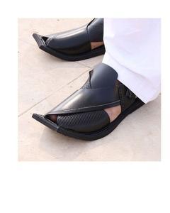 Black Pure Leather Peshawari Sandals for Men