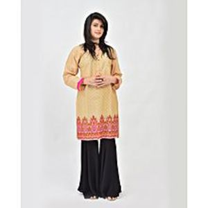 d'Orhni Casuals Ethnic Glaze Fawn Embroidered Casual Kurta For Women