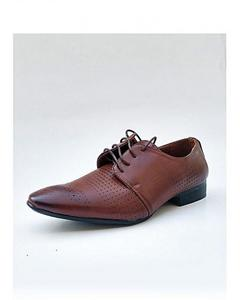 Dark Brown Leather Designer Lace-Up Formal Shoes For Men