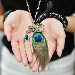 Peacock Pendant Necklace Sweater Chain Ornament Women Jewellery
