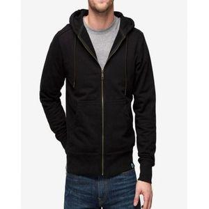 Black Zipper Fleece Hoodie For Men