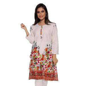Dija's Women Winter Collection Off White Stitched 1 PCS Digital Printed Kurti - Kurti-D-012
