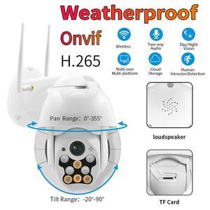 1080P PTZ IP Camera WiFi Outdoor Speed Dome Wireless WiFi Security Camera Pan Tilt Auto Focus IP66 Weatherproof Network CCTV Surveillance with 8 IR Light (F)