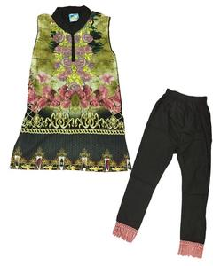 Fancy Embroidered Printed Kurti With Black Trouser For Girls