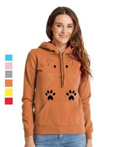 Rex Bazar - Orange Cat Printed Hoodie For Women