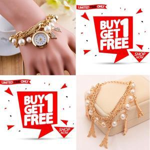 Eastern Watches Stylish Bracelet Watch With Free Random Design Bracelet For Women/Girls