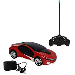 3D Famous RC Rechargeable Car with LED lights - Operate With Remote Control - Red