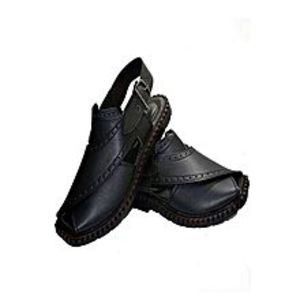 Bindiya Collection Black Artificial Leather Peshawari Sandals For Men