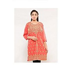 CLICKANDBUYPink Cotton Embroidered Kurti For Women