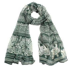 New Ladies Neck Stole Elephant Print Long Scarf Shawl Wrap Pashmina BW