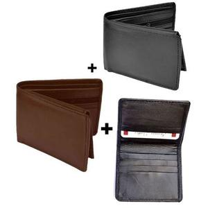 Pack Of 3 - Black & Brown Leather Wallets + Card Holder