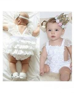 Newborn Baby Girls Jumpsuits And Rompers Lace White Dress