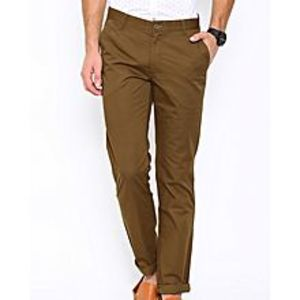 Aashi John Players Men Brown Slim Fit Solid Chinos