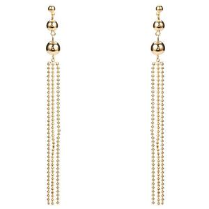 Qilulu Long Tassel Gold Pendant Copper Earrings with Small Balls on the Top for Decoration